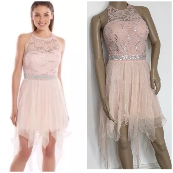 Speechless Juniors Blush Hanky Hem Prom Dress Nwt